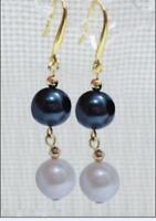 AAA 9-10mm south sea black white pearl dangle earring 14K gold  pearl earrings