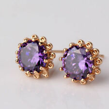 18K Yellow Gold Amethyst Stud Earrings - February Birthstone 371
