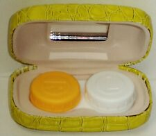 SAX Stylish Contact Lens Case W R & L Lens Holders & Mirror Reptile Style Yellow