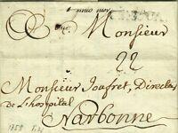 G653-LIGURIA, DUCATO DI GENOVA, PREF., DA GENOVA A NARBONNE, SEGNO DI TASSA,1759