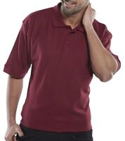 Click Burgandy Mens Polycotton Short Sleeve Pique Polo Shirt Collar Work Wear