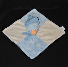 Peluche doudou canard plat BABYLOVE DM carré bleu crème bonnet flocons TTBE