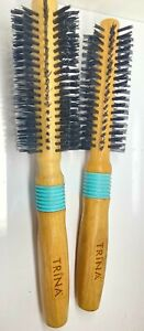 TRINA ROUND HAIR BRUSH WITH WOODEN HANDLE & BLUE BAND 24CMS (CODE V)