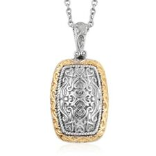 """14K Yellow Gold and Platinum Over Silver Pendant with Stainless Steel Chain 20"""""""