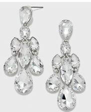 """2.5"""" Long Clear Silver White Austrian Crystal Pageant Bridal Earrings Formal"""