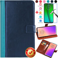 For Motorola Moto G7 E5 G6 Plus Z3 Play Leather Wallet Card Case+Tempered Glass