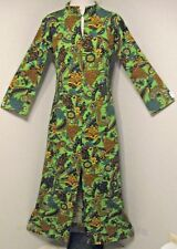 Vintage 70's Caftan Long Dress Green Golden Yellow Brown Black Size Small  #1201