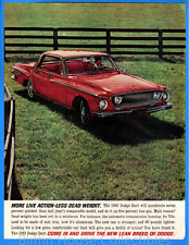 "Vintage 1962 Red Dodge Dart ""More Live Action-Less Dead Weight"" Print Ad"