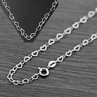 925 Genuine Solid Sterling Silver Love Heart Link Jewllery Chain Necklace Italy