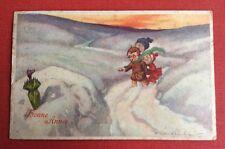 CPSM. Illustrateur CASTELLI. Enfants dans la Neige. Parapluie à tête de Chien.