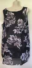 NWT Capture Sheer Black Floral Tunic top Size 14