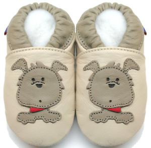 minishoezoo soft sole leather baby shoes boy toddler dog beige 18-24m US 7-8