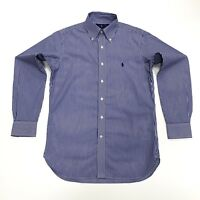 Ralph Lauren Men's Easy Care Striped Blue & White Shirt 100% Cotton Stretch