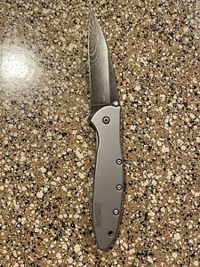 KERSHAW Ken Onion Leek Plain Edge Damascus Blade Knife 1660DAM