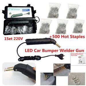 1Set LED Hot Stapler Plastic Repair kit Car Bumper Welder Gun W/ 500 Hot Staples
