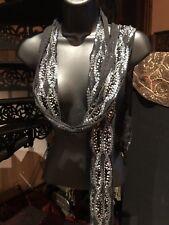 Vintage Black Silk Sequined Sash Wrap Neck Scarf