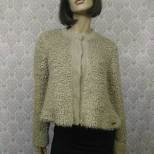 Love Moschino Womens 6 Sweater Jacket Beige Cropped Mohair Alpaca Acrylic Lined