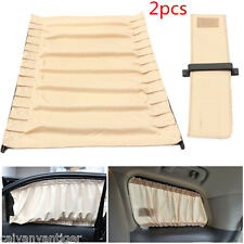 Universal 2×70cm Beige Mesh VIP Car Window Curtain Sunshade Sun Visors UV Block