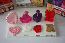 Set of 4 Valentine Themed Plunger Cutters, Sugarcraft, Pie Crust, Fondant