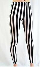 Ladies Girls High Waist Leggings Women's Black & White Stripe Legging Pants 8-22