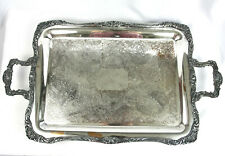 Vintage William Wm Rogers Silver Plate Footed Serving Tray Handles Fancy Floral