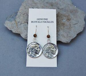 Genuine Buffalo Nickel Indian Head Earrings Tigerseye Beads Sterling Silver