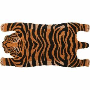 Large Tiger Skin Coir Floor Doormat Orange Black Cat 74x38cm Hallway Door Decor