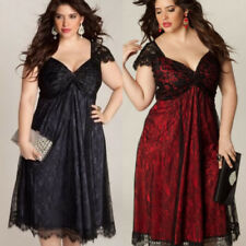 UK Womens Cocktail Lace Ladies Evening Party Long Sleeve Dress Plus Size 14-22