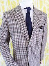 MOFFAT WEAVERS ivory tan brown plaid wool tweed English blazer jacket 42R