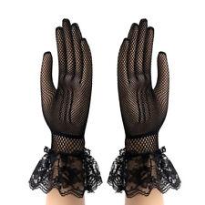Accessoires mariage gants noirs longueur poignet résille bordure dentelle