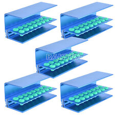 16 Hole Blue 5X Dental Bur Block Holder Station Autoclave Disinfection Box Italy