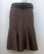 *NEXT* Ladies Brown Diagonal Check Flippy Full Knee Length Belted Skirt UK 14