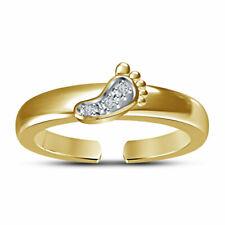 Diamond Open Adjustable Footprint Toe Ring 14K Solid Yellow Gold Over Ladies