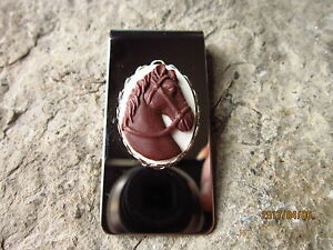 BROWN HORSE CAMEO STAINLESS STEEL MONEY CLIP- FATHER'S DAY GIFT - DAD - ANNIVERS