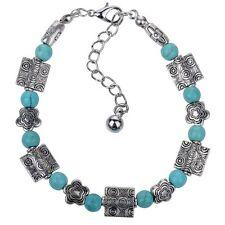 Retro Tibetan Silver Turquoise Beaded Bracelet Bangle Wristband girl Jewelry