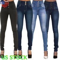 Women High Waist Skinny Jeans Pants Stretch Pencil Denim Trouser US S M L XL 2XL