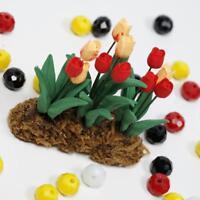 Puppenhaus Miniatur 1:12 Gartenpflanzen Ein Blumenstrauß Tulpe Länge 5cm A +