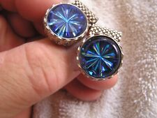 Vintage Iridescent Dark Blue Wrap Around Cufflinks