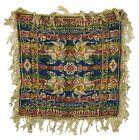 """Vintage Old Fringed 22"""" Square Tapestry Green Gold Pink Blue Angels on Horseback"""