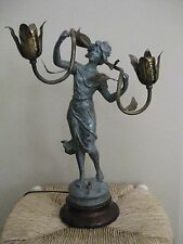 Art Nouveau Metal Figural Sculpture Lighting Lamp of Nymph Maiden