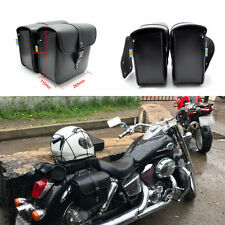 2 Pcs Mini PU Leather Motorcycle Saddle Bags Organizer Storage Fork Tool Pouch
