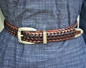 """Fossil Belt Two-tone Brown Woven Leather Silver-tone Buckle Set Women's M 36"""""""