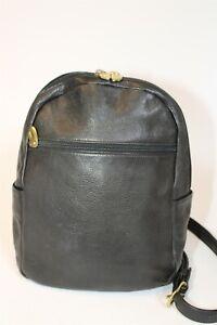 Libaire USA Made Womens Petite Black Premium Leather Backpack Daypack Bag