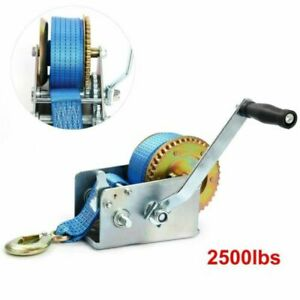 2500LBS Hand Winch 2 Gear Hand Crank Polyester Strap Fit For ATV Trailer Boat US