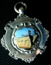 Attrayant argent & émail médaille/watch fob/Pendentif-PALETS H/M 1925 Chester