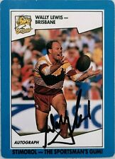 ✺Signed✺ 1991 Scanlens Stimorol Wally Lewis (Broncos) NRL card