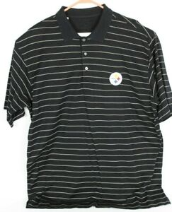 Cutter & Buck Signature Collection Men XL Pittsburgh Steelers Black Striped Polo