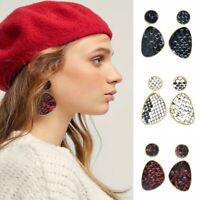Women Fashion Earring Snake Leather Leopard Geometric Drop Dangle Earrings Jewel