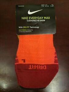 Nike Everyday Cushion Max No Show Training Socks 3-Pair Pack Women size 4-6