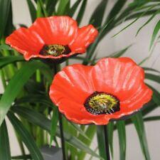 2PK Cast Iron Red Poppy Flower Dish Patio Garden Ornament Wild Bird Feeder Bath